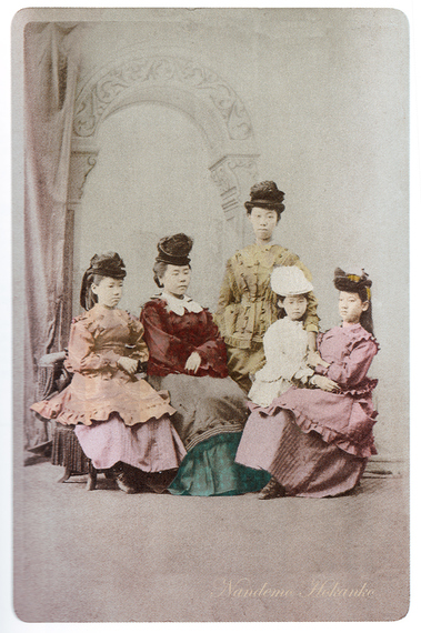Five female exchange students colorized photo